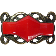 Art Deco Brass & Faceted Red Glass Pin