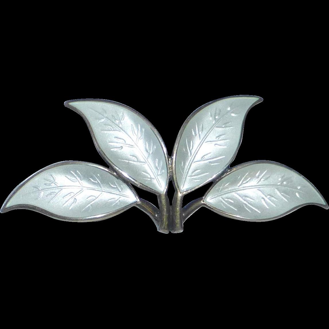 Sterling Enamel David Andersen Four Leaf Pin