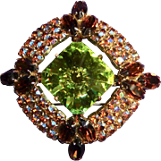Vibrant D&E Juliana Rhinestone Pin in Autumn Colors