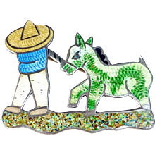 Jeronimo Fuentes Mexican Sterling Enamel Figural Scenic Pin