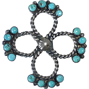 Native American Sterling & Turquoise Pin