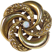 Victorian 10k Opal Swirling Crescents Pin