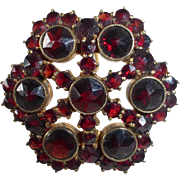 Victorian Revival Gold Filled Bohemian Rose Cut Garnet Pin