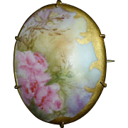 Victorian Hand Painted Porcelain Pin Pink Roses