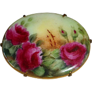Victorian Hand Painted Roses Porcelain Pin
