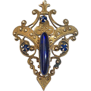 Antique Victorian Brass Pin w Cobalt Glass Jewels