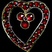 Victorian Rose Cut Garnet Stylized Heart w Small Clover