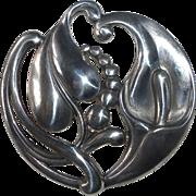 Viking Craft Art Deco Sterling Calla Lily Pin