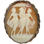 Three Graces Hand Carved Shell Cameo Pin