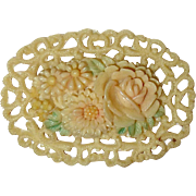 Celluloid Tinted Floral Pin w Lacy Edge