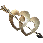 Krementz Gold Overlay Double Hearts & Arrow Pin