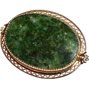 Gold Filled Serpentine Cabochon Pin