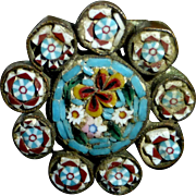 Italian Floral Mosaic Pin w Scalloped Edge