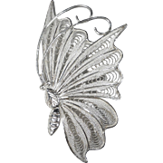 Sterling 950 Filigree Butterfly in Flight Pin