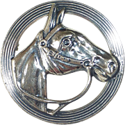 Beau Sterling Dimensional Horse Head Circle Pin