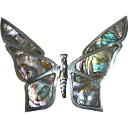Mexican Sterling Butterfly Pin w Inlaid Abalone Shell