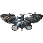 Sterling Butterfly Pin w Moonstone Cabs