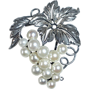 Sterling & Cultured Pearl Handcrafted Grapes Pin