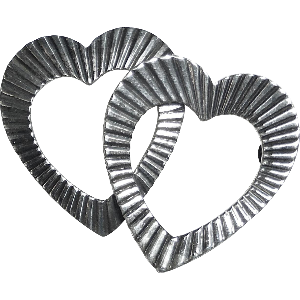 Sterling Silver Double Hearts Pin c1960s