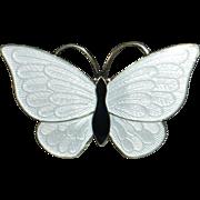 Denmark Sterling Enamel Butterfly Pin  VB Volmer Bahner