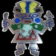 Sterling & Enamel Peruvian Inca Sun God Image Pin/Pendant