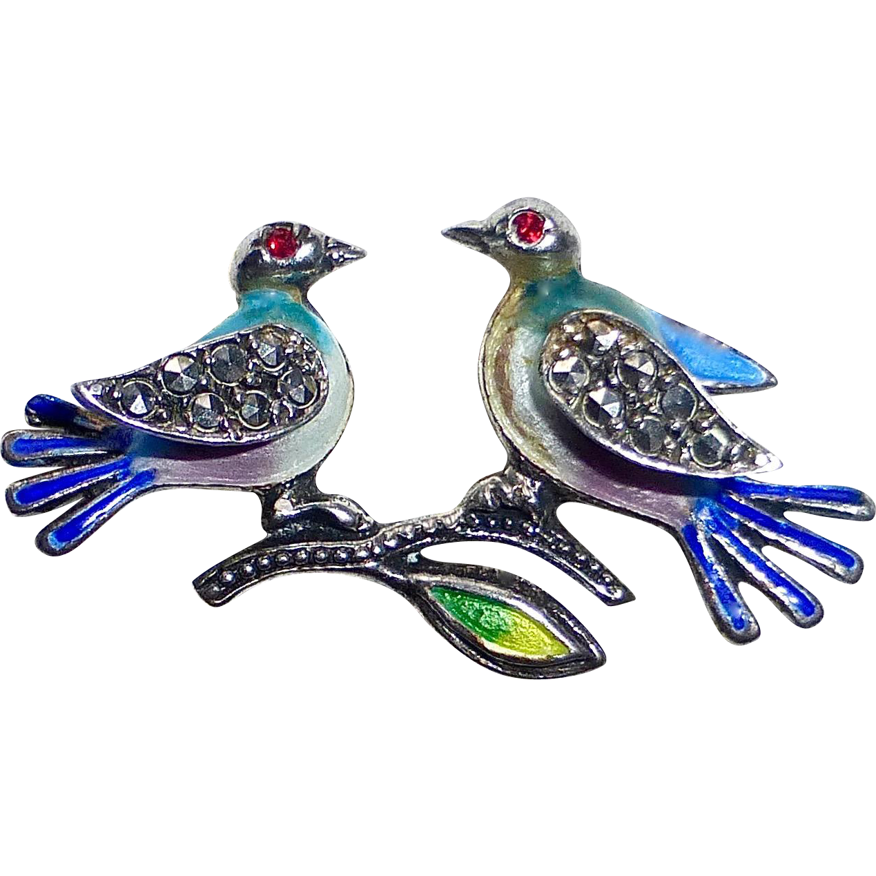 Alice Caviness Enameled Sterling Blue Birds Pin with Marcasites