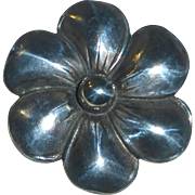 Heavy Sterling Silver Repousse Flower Pin