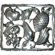 Sterling Pin of Framed Fruit Vegetables & Leaves