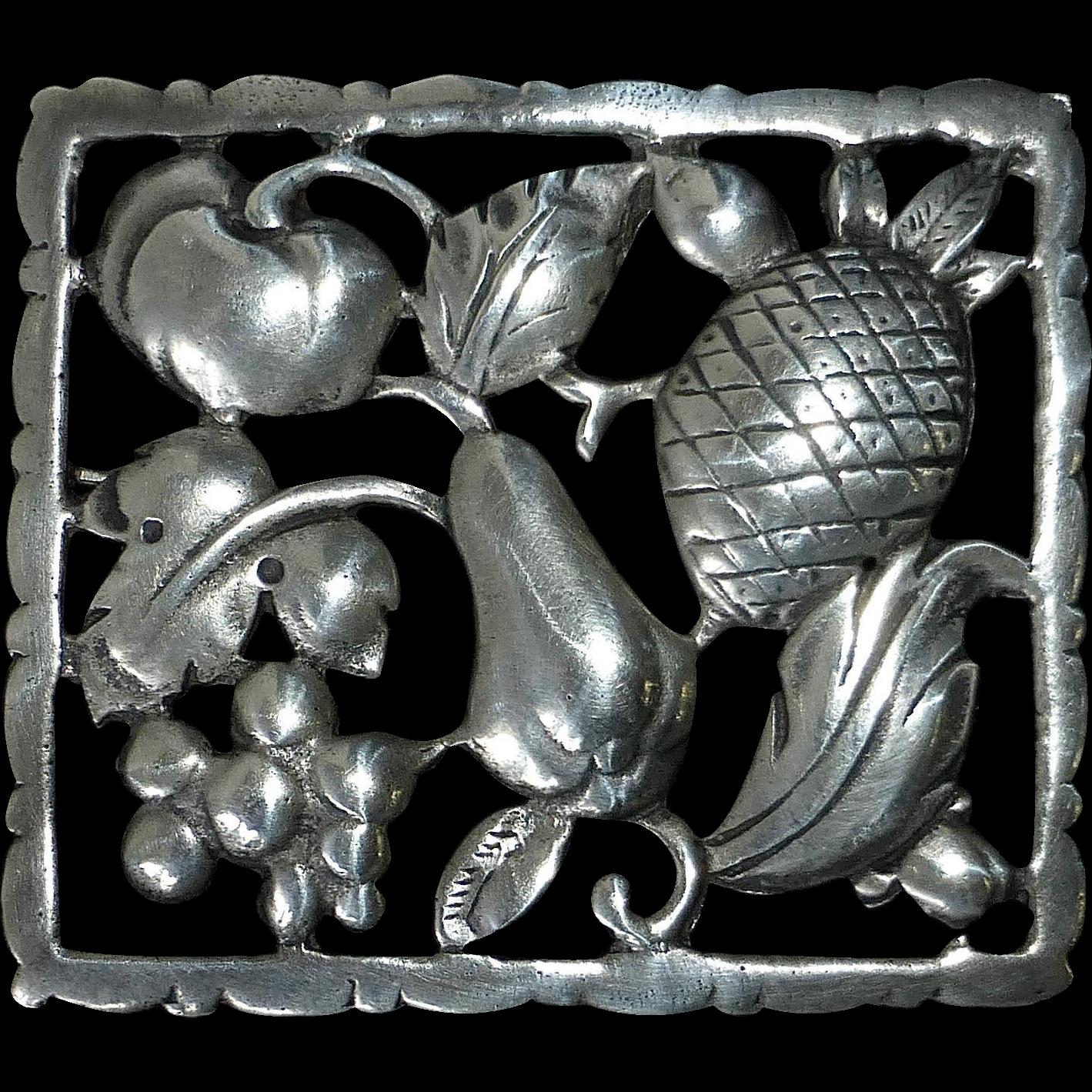 Sterling Pin of Framed Fruit Vegetables & Leaves
