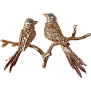 Gold Plated Sterling Birds on a Branch Pin