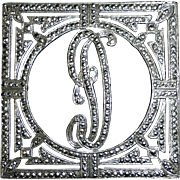 Art Deco Sterling & Marcasite D Initial Pin