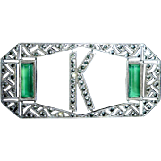 Art Deco Sterling Marcasite Initial K Pin w Chrysoprase