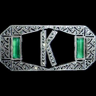 Art Deco Sterling Marcasite Initial K Pin w Chrysoprase
