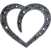 Sterling Silver Stylized Heart Pin w Marcasites