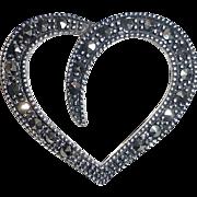 Sterling Silver Stylized Heart w Marcasites