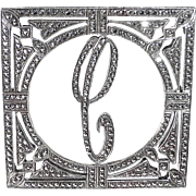 Sparkling Art Deco Sterling Silver & Marcasite C Initial Pin