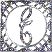 Sparkling Art Deco Sterling Silver & Marcasite Initial E Pin