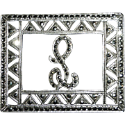Sparkling Art Deco Sterling & Marcasite Script L Initial Pin