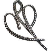 Mid Century Modern Sterling & Marcasite Pin