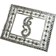 Art Deco Sterling & Marcasite Initial J Pin