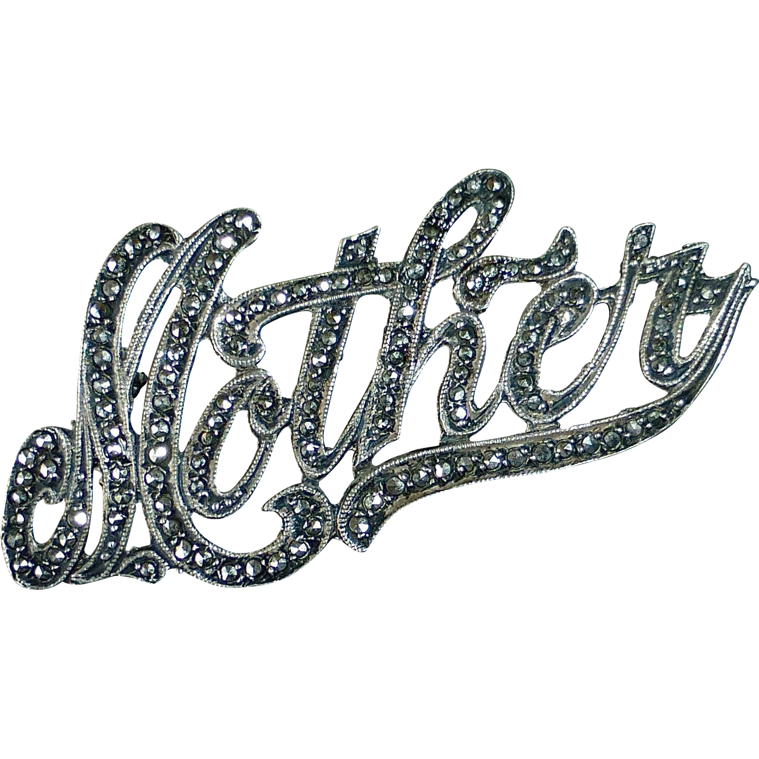 Sterling & Marcasite Sentimental Script 'Mother' Pin