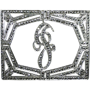 Sparkling Art Deco Sterling Silver & Marcasite J Initial Pin