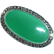 Art Deco Sterling & Chrysoprase Pin Marcasite Frame