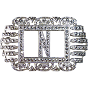 Sparkling Art Deco Sterling & Marcasite N Initial Pin