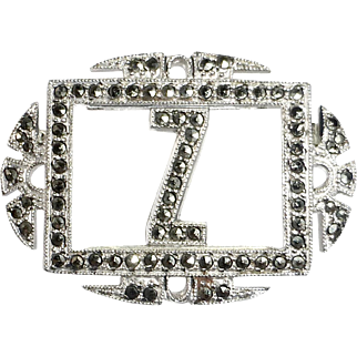 Sparkling Art Deco Sterling Silver & Marcasite Initial Z Pin