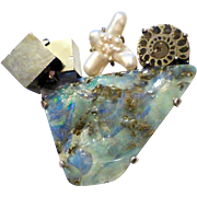 Shaw Modernist Sterling Pin Rough Opal~Iron Pyrite Crystal~Ammonite Fossil~Cross Natural Pearl