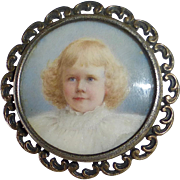 Antique Sterling Hand Painted Victorian Child Portrait