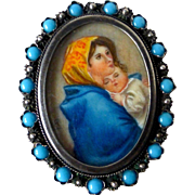 Italian Hand Painted Madonna & Child Portrait Pendant/Pin in 800 Silver Frame
