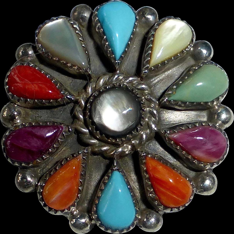 Native American Signed Zuni Multi Stone Colorful Pin-Pendant
