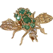 14k Emerald Winged Bug Combo Pendant / Pin